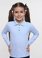 Футболка - поло для девочки длинный рукав тм смил арт. 114532 возраст 6 -10 лет