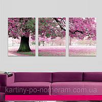 Картина по номерам MS14028 Триптих Весенний цвет (50 х 150 см) Турбо