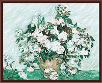 Раскраска по цифрам  40 х 50 см  Ваза с розами худ, Гог, Винсент ван