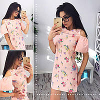 Женственное хлопковое платье с открытыми плечами в цветочный принт