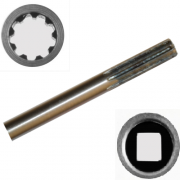 Вал приводной для мотокосы одна сторона 9 шлицов, другая квадрат, диаметр 8мм