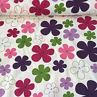 Ткань декоративная с тефлоновой пропиткой с розовыми, сиреневыми и зелеными цветами