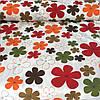 Ткань декоративная с тефлоновой пропиткой с оранжевыми, красными и коричневыми цветами