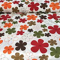 Ткань декоративная с тефлоновой пропиткой с оранжевыми, красными и коричневыми цветами, фото 1