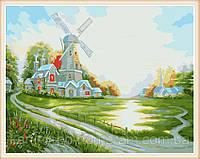 Картина-раскраска  40 х 50 см  Ветряная мельница худ, Кинкейд, Томас