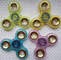 Спиннер с прозрачный  с метал вставками Fidget Toy, Hand spinner, finger spinner, Вертушка, Хендспиннер фиджет желтый