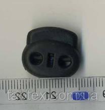Фиксатор 2х дырочный мал.черный  (500 шт) пласт.под 4мм шнур