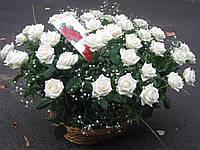 Корзинка роза белая 39шт