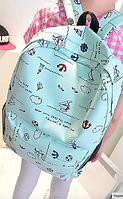 Городской рюкзак мятный морской принт (большой)