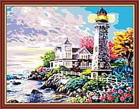 Раскраска по номерам  40 х 50 см  Дом у маяка