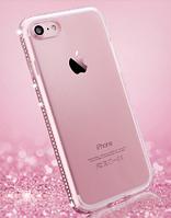 Силиконовый розовый чехол с камнями Сваровски для Iphone 7+ 7S+