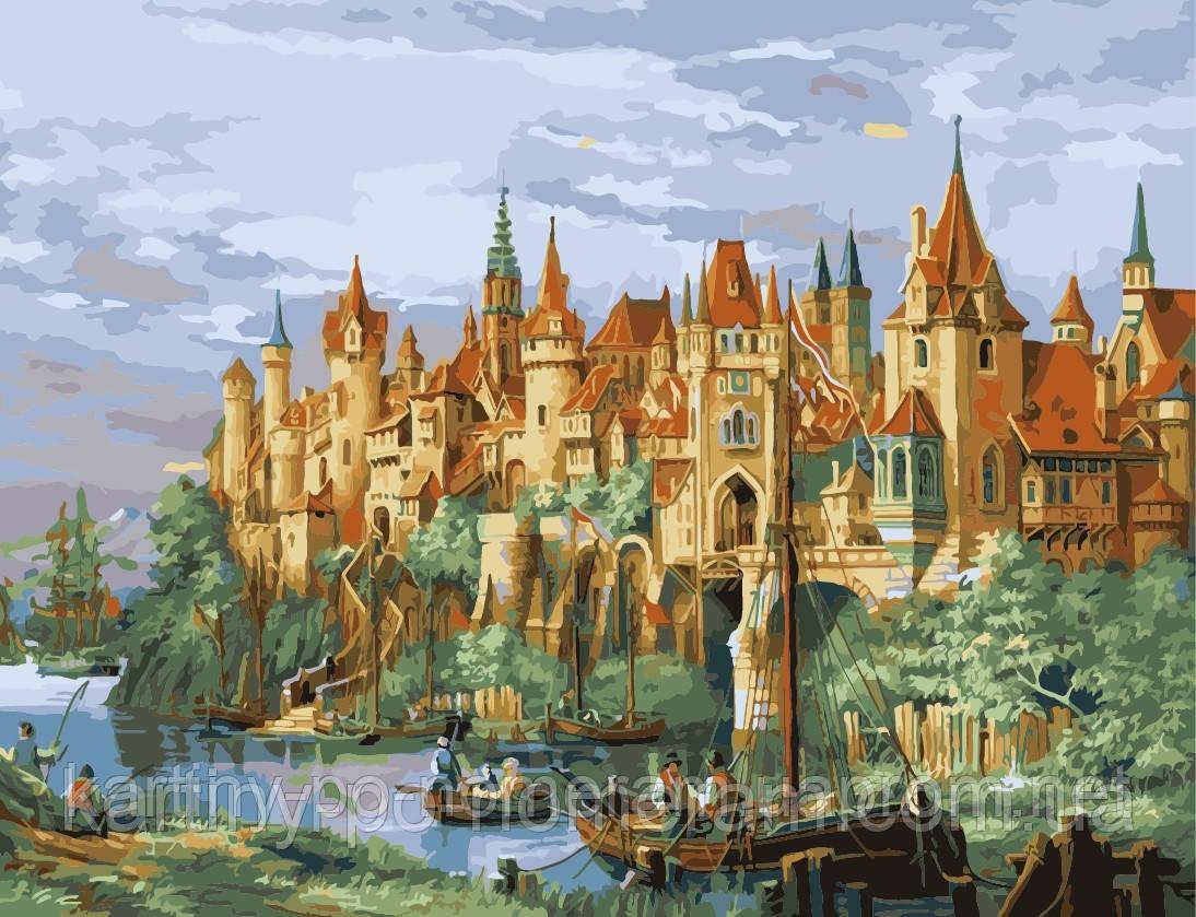 Раскраска по номерам 50 х 65 см Средневековый город ...