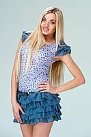 Короткое подростковое платье в горошек с шифоновыми рюшами по низу юбки для девочки