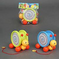 Каталка 8002 (48/2) улитка, музыкальная подсветка, на верёвке, 2 вида, в кульке