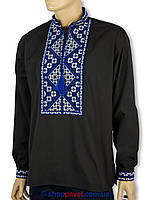 Мужская вышиванка Flax 023-ч В черного цвета с синим узором