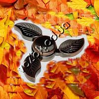 Металлический трехлепестковый спиннер Листья Leaf Fidget Spinner премиум класса