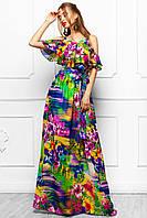 Сарафан Платье Длинное Шифоновое с Летним Красивым Принтом р. S M L XL