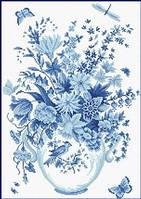 Рисование камнями (38 х 53 см) 'Голубые цветы'