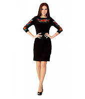 Вишита жіноча сукня, чорний льон