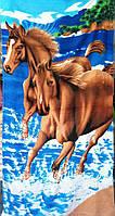 Пляжное полотенце велюр-махра 70х140 см Лошади