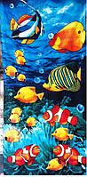 Пляжное полотенце велюр-махра 70х140 см Водный мир