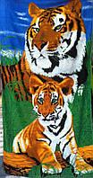 Пляжное полотенце велюр-махра 70х140 см Тигрица
