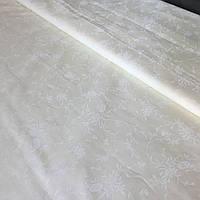Поплин Люкс с нежной белой веточкой на кремовом фоне, ш. 220 см, фото 1