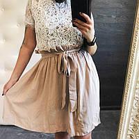 Женская летняя юбка из легкого штапеля с поясом , в 4 расцветках