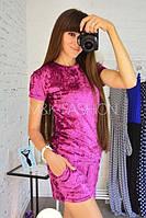 Женский модный  костюм из мокрого велюра футболочка + шорты  МХХ 114