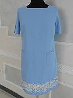 Платье летнее лен с кружевом большого размера