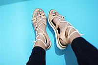Стильные летние женские комфортные сандалии-гладиаторы от TroisRois из натуральной турецкой кожи Пудра