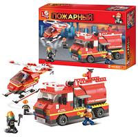Конструктор SLUBAN M38-B0222 (16шт) Пожарные спасатели,машина,вертолет,409дет,в кор-ке 42,5-28,5-7см FM