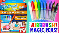 Набор фломастеры-распылители меняющие цвет и трафареты AirBrush Magic Pens Оригинал из США
