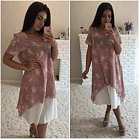 Льняное платье больших размеров (2 цвета)