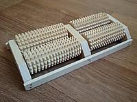 Качественный деревянный массажер для стоп, двухрядный на 4 валика