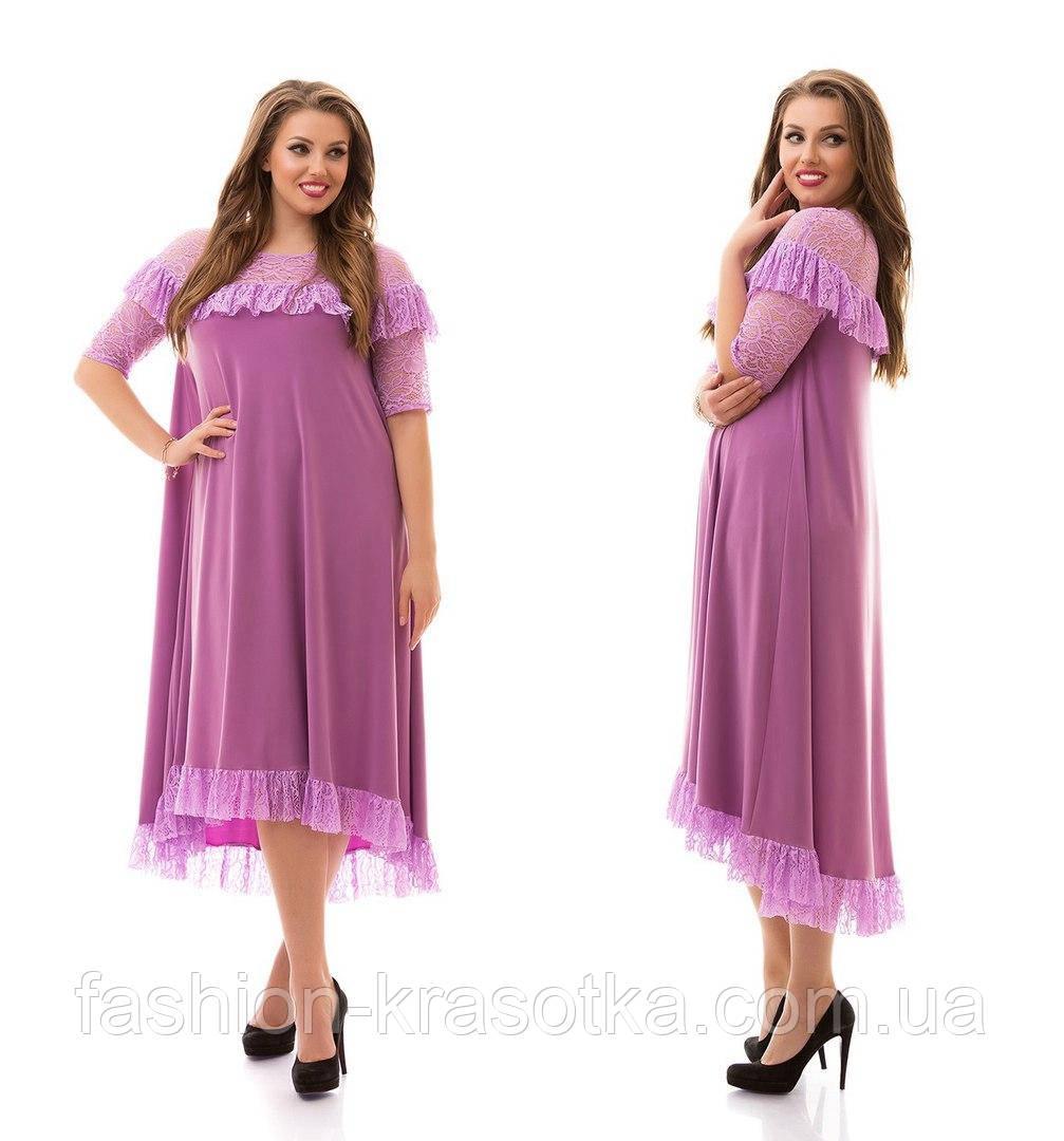 Сукня трикотаж масло з гіпюром і кишенями