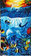 Пляжное полотенце велюр-махра 70х140 см Дельфины на закате