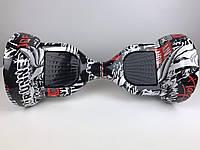 Гироборд гироскутер Smartway 6,5 дюймов Белый/черный графити  с подсветкой колес ( smart board, сигвей)