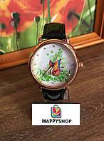 Женские кварцевые часы Butterfly (черные)