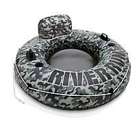 Надувное кресло-круг для плавания Intex 58835 Хаки, 135 см , фото 1