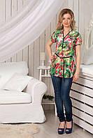 Шифоновая женская блуза в цветочный принт, разм. 42-52, фото 1