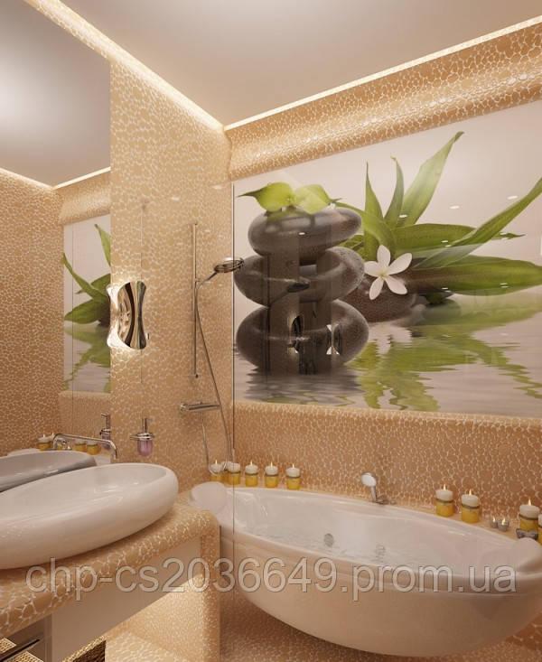 Скинали у ванній Орхідеї - скло з фотодруком