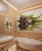 Скинали в ванной Орхидеи - стекло с фотопечатью