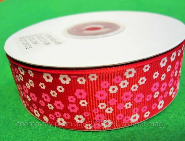 """Лента репс 2.5 см """"Цветок"""", 23 м, Красная"""