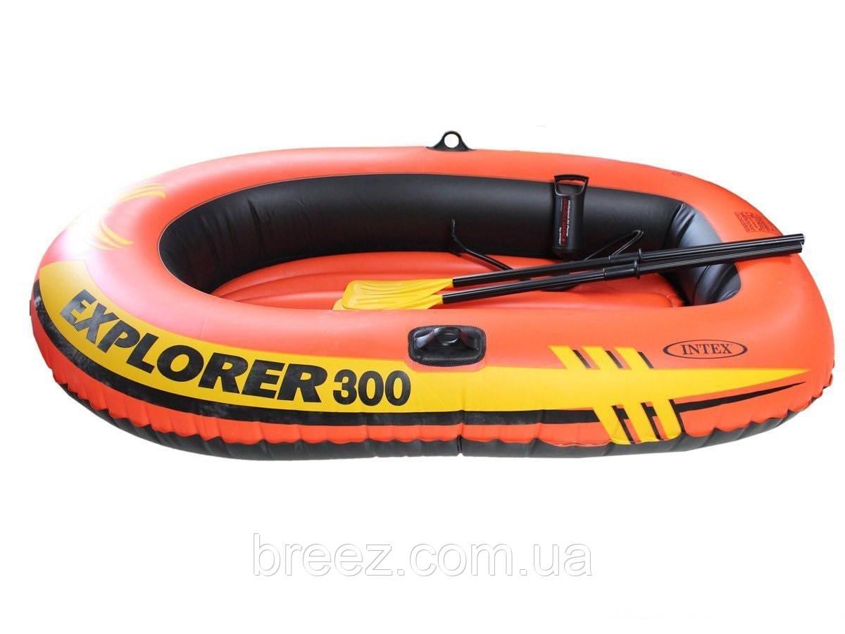 Двухместная надувная лодка Intex 58332 Explorer 300 Set, 211 х 117 х 41 см