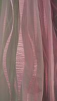 Тюль с батистовой вставкой Циния розовая (kod 2703)