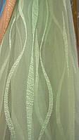 Тюль с батистовой вставкой салатовая (kod 2704)
