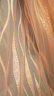 Тюль с батистовой вставкой Циния персик (kod 2705)