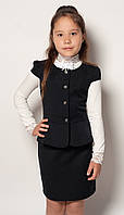 Костюмы на девочек в школу (жилет+юбка)2073 140, черный