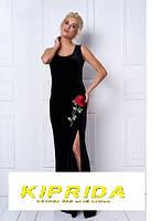 Длинное бархатное платье в пол без рукавов  с красной розой